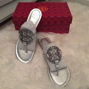 Tory Burch Miller Embellished Sandal Metallic 10.5